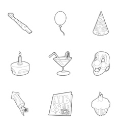 Birthday party icons set outline style vector