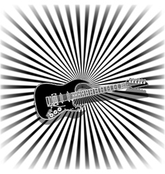 Black and white music background with a guitar vector