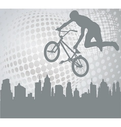 bmx over abstract background vector image vector image