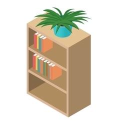 Bookcase isometric 3d icon vector