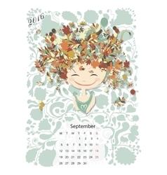 Calendar 2016 september month season girls vector