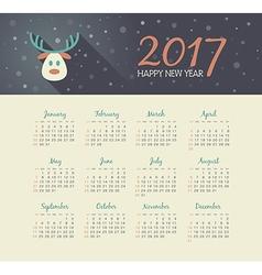 Calendar 2017 year with christmas reindeer vector