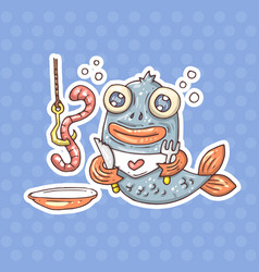 cartoon breakfast fish vector image