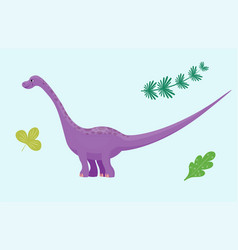 Cartoon dinosaur diplodocus vector