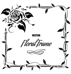 Decorative frame with roses and leaves vector image vector image