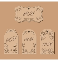 Elegant victorian swirl gift tag vector