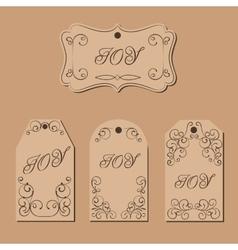 Elegant victorian swirl gift tag vector