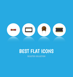 Flat icon electronics set of triode vector