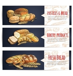 Fresh bread and bakery products posters vector image