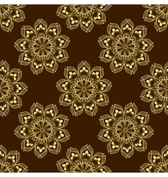Gold Seamless Mandala Pattern over dark vector image vector image