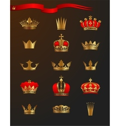 Golden crowns vector image vector image
