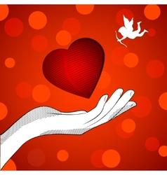 Heart cupid vector image vector image