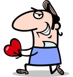 man giving valentine cartoon vector image vector image