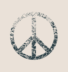 Peace symbol in grunge style vector
