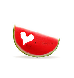 Piece of watermelon with a hole in the heart vector
