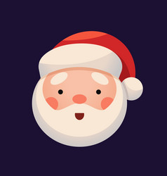 santa claus face on dark background sticker jolly vector image vector image