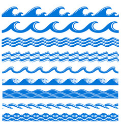 Sea water waves seamless borders set vector