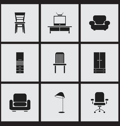set of 9 editable furnishings icons includes vector image vector image