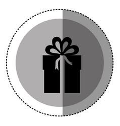 Sticker monochrome circular emblem with gift box vector