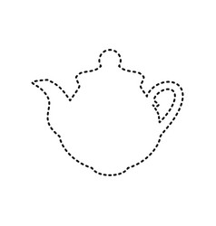 tea maker kitchen sign black dashed icon vector image