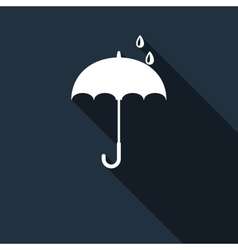 Umbrella icon with long shadow vector image