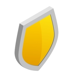 Yellow shield icon in isometric 3d style vector image vector image
