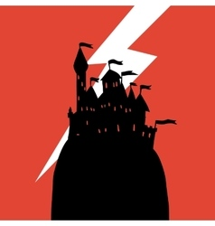 Cartoon dark halloween castle on a hill flat icon vector