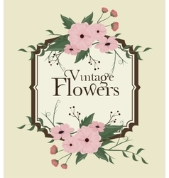 Vintage flowers frame decoration vector