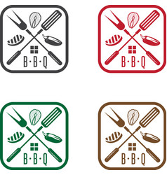 Bbq house with different products design template vector