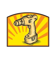 Cordless drill power tool woodcut retro vector