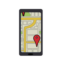 Smartphone with navigation gps mobile application vector