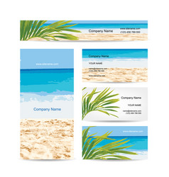 Business cards design tropical island vector