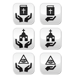 Religion buttons - hands with bible church eye vector