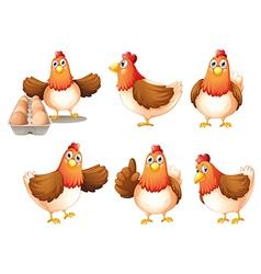 Six fat hens vector image