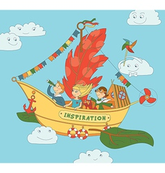 Flying ship inspiration with happy kids vector