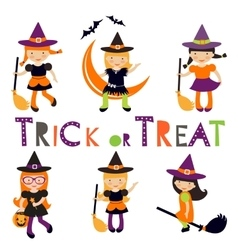 Cute collection of little halloween witches vector
