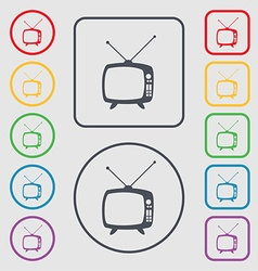 Retro tv mode sign icon television set symbol vector