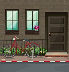 Bicycle parking in front of the house vector