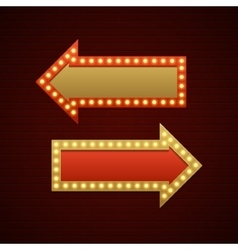 Retro showtime sign design arrows cinema signage vector
