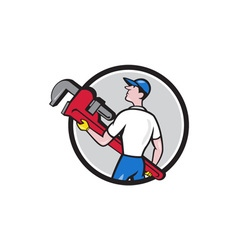 Plumber carry monkey wrench walking circle cartoon vector