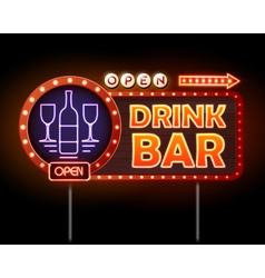 Drink bar neon sign vector