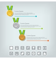 Sports medal and award concept champions or vector