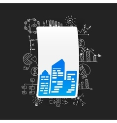 Drawing business formulas city skyscrapers vector