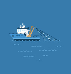 a fishing boat fishing vector image