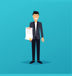 Businessman character celebrates his victory vector