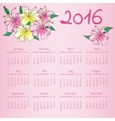Calendar 2016 with with lily flowers on pink vector