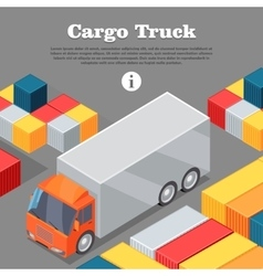 Cargo truck and intermodal containers web banner vector