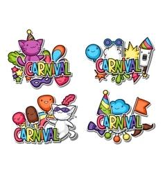 Carnival party kawaii sticker set cute cats vector