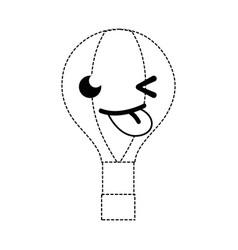 Dotted shape funny air balloon kawaii cartoon vector