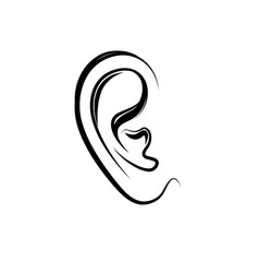 ear engraving icon human ear isolated over white vector image